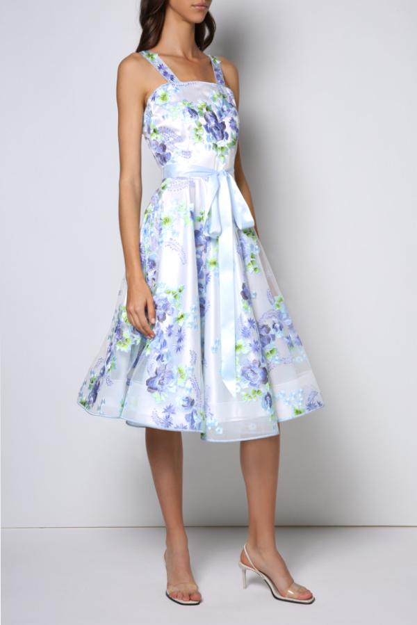 Tea-long sleeveless dress, full circle skirt, icy blue bow and straps (embroidered).