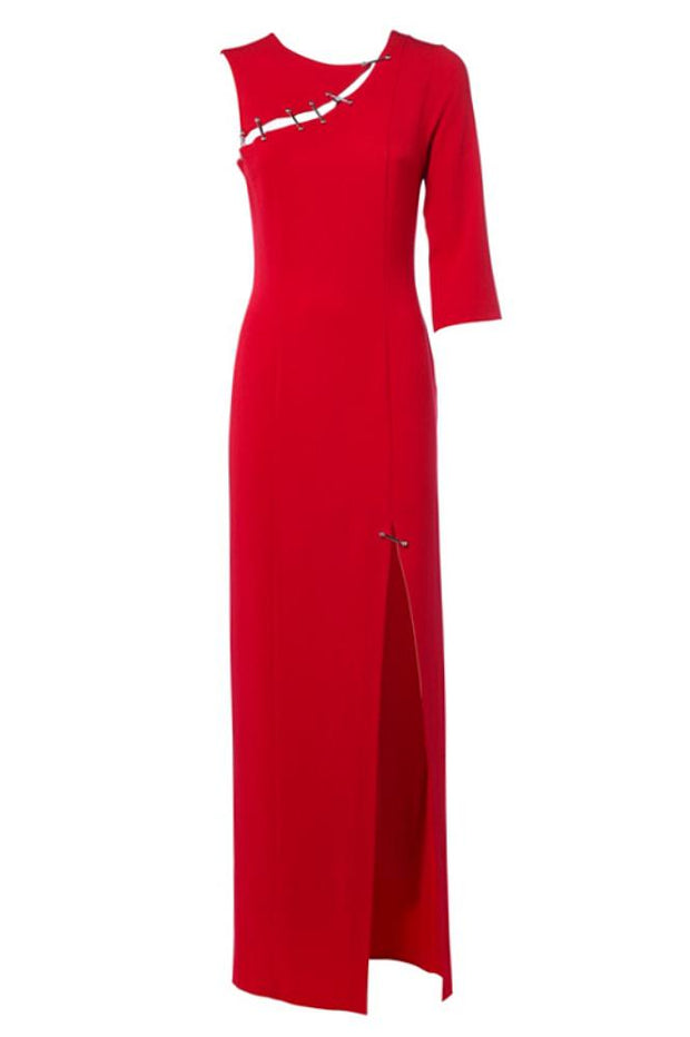 Sheath long red dress with leg slit, cutout on shoulder and one 3/4 sleeve
