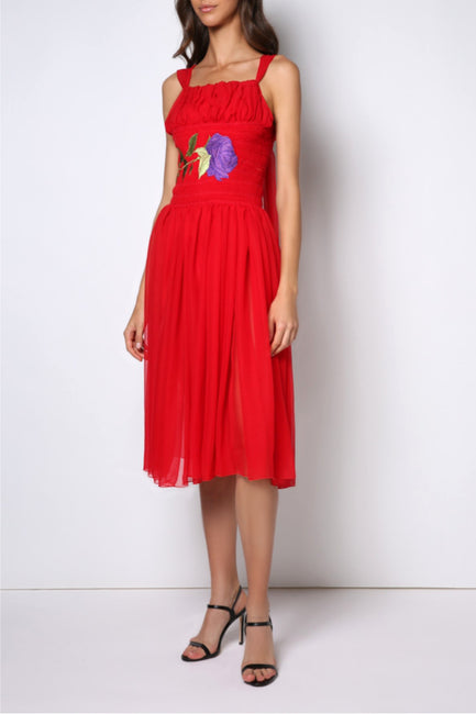 Tea-long smoking embroidery sleeveless dress - Hand made
