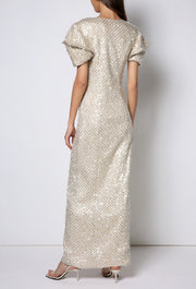 Diva - Golden long dress pagoda arms