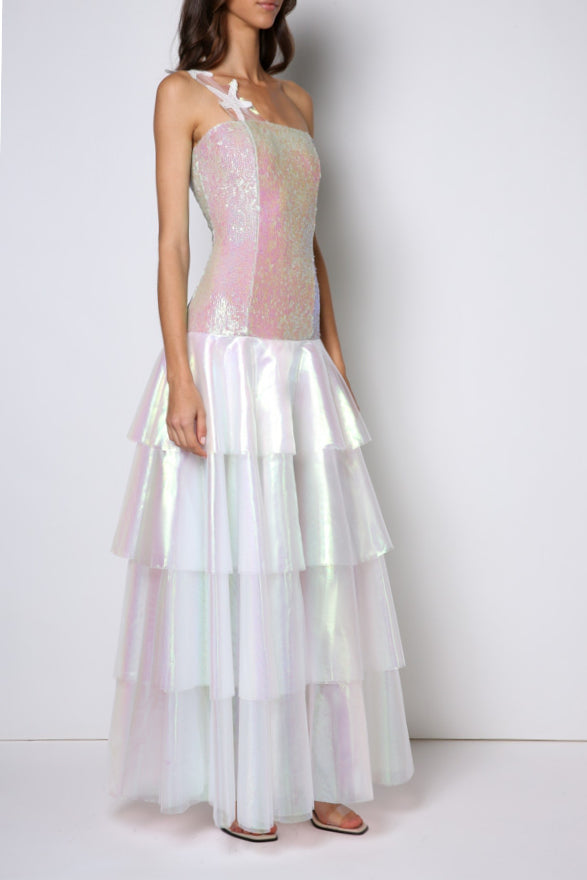 Floor long dress, double 4-layered translucent skirt, boned bodice. Starfish strap.
