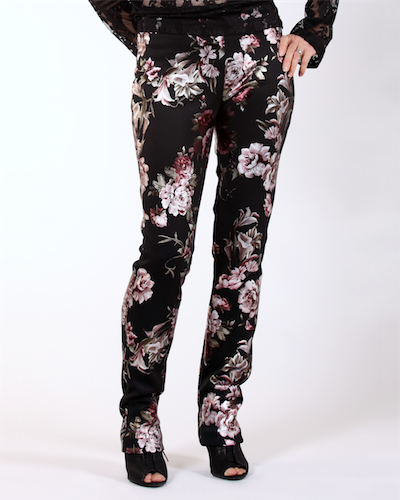 Pants on metallic printed scuba
