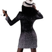 Black & white mate sequins blazer-dress, crossed with buckle hook
