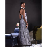 Black & white mate sequins long asymmetric one-shoulder dress.