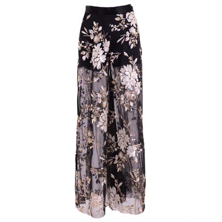 Palazzo pants, high waist embroidered sequins on dark mesh