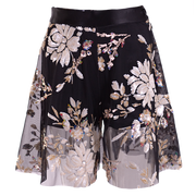 Palazzo shorts on dark mesh, embroidered sequins