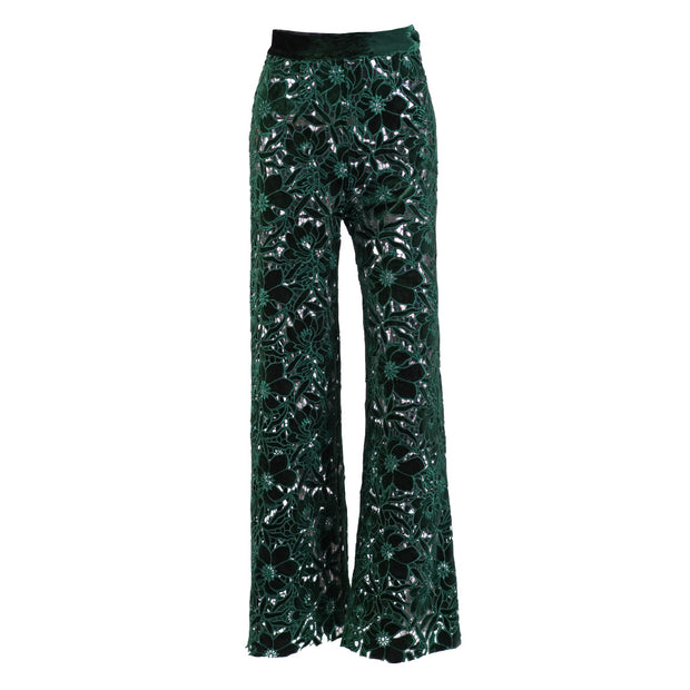 High-waist pants see-through laser-cut velvet