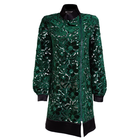 Balmacaan see-through asymmetric coat.