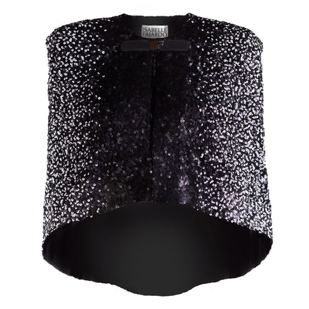 Black & white mate sequins capelet, front buckle hook, shoulder padded