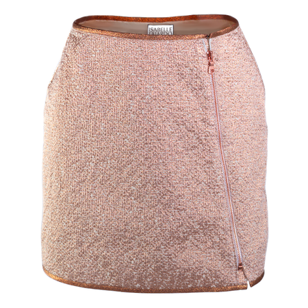 Ultra chic stork-line mini-skirt, copper rimmed.