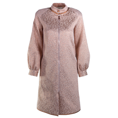Balmacaan coat, bishop sleeves, cotton and lame, copper rimmed