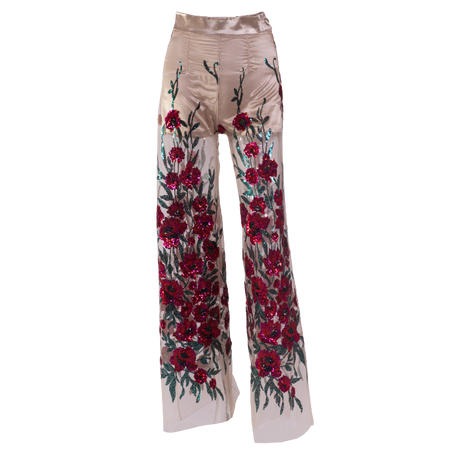 Golden-beige multi-colored embroidered sequins high-waist pants