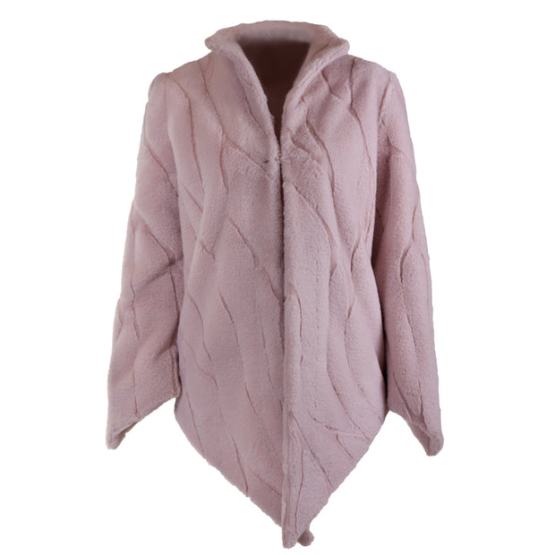 Pointy cozy faux-fur pink jacket