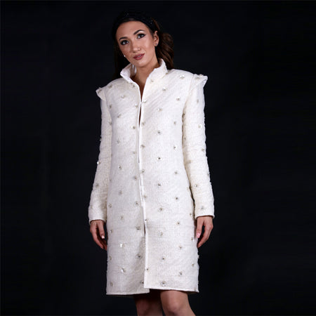 Flowers beaded silk coat with hand-embroidered motives.