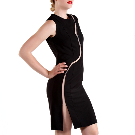 Little black dress with an S-shaped cut-out slit