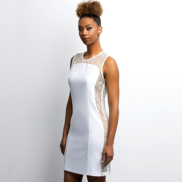 Adrastrea side three-through white dress - front