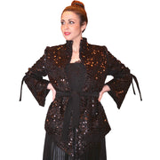 Faceted glittering V-shaped coat