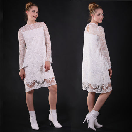 """Thebe"" long sleved web and lace white knee-length dress"
