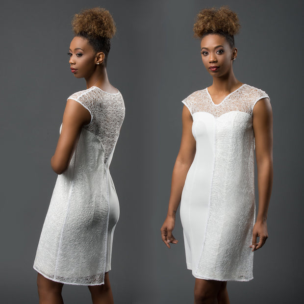"""Amalthea"" asymmetric short white dress with sequinned web layer"