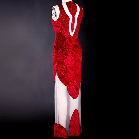 """Desdemona-Red"" long sheath velvet sleeveless dress with ample illusion arches."