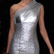 """Hollywood glam"" Feet-long silver sequin dress one shoulder off"