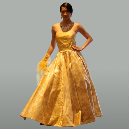 """Johanna"" yellow off-shoulder ball-gown vintage style"