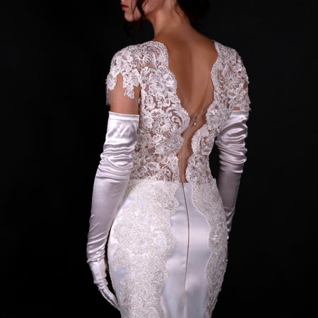 """Napoleonia"" laced illusion applique bodieze sheath tea-length stunning wedding gown"