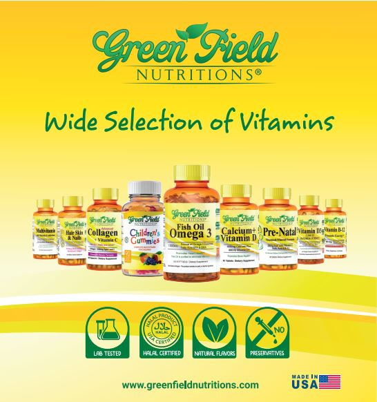 Greenfield NUtritions - Halal Multivitamin Gummies for Children, 90 Gummies Bears (Sales - Three Bottles)