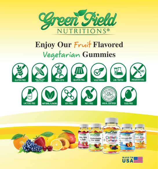 Greenfield Nutritions - Halal Vitamin D Gummies for Kids and Adult - Immunity and Bone Support - Gelatin Free and Gluten Free-90 Gummy