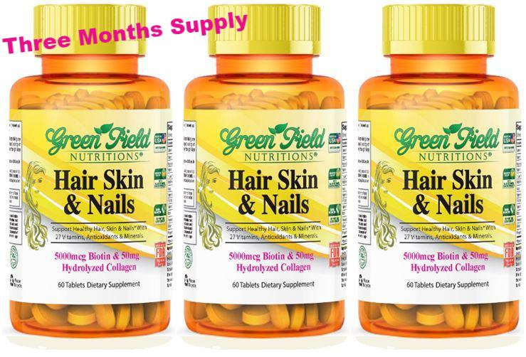 Hair, Skin, and Nails with Biotin and Collagen for Beauty from Greenfield Nutritions