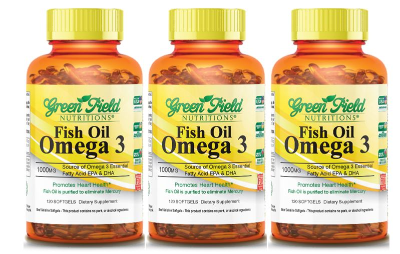 Halal Fish Oil Omega 3 1000 mg with DHA from Greenfield Nutritions
