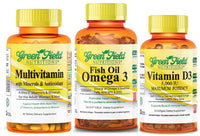 Greenfield Nutritions - Family Offer - Halal Fish Oil, Multvitamin for Women and Men, and Halal Vitamin D3 1000 IU