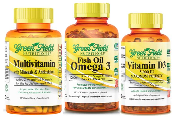 Halal Fish Oil -Omega 3 - Multivitamin - And Vitamin D3 1000 IU