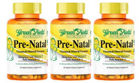 Greenfield Nutritions - Halal Prenatal Multi-vitamins with Minerals, 800 mcg Folic Acid and 28 mg Iron (Sales - Three Bottles)