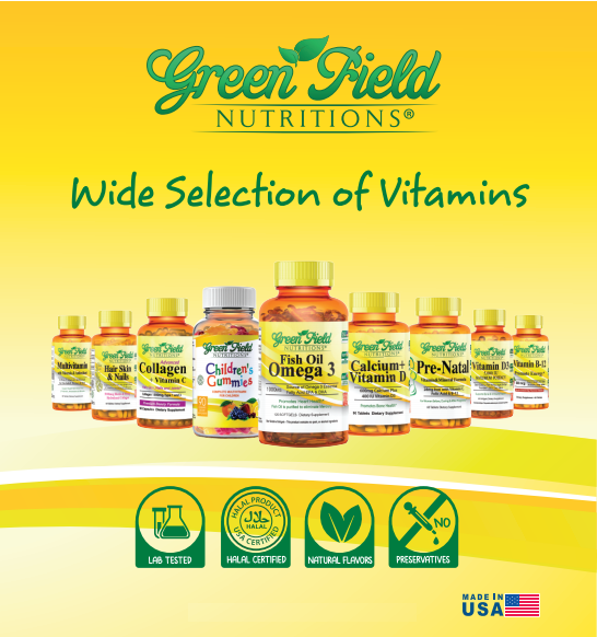 Greenfield Nutritions - Halal Gelatin free vitamins D3 1000 IU - Immunity and Bone Supports - 120 Softgels - Halal Beef Gelatin