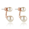 Dual Pearl Stud Rose Gold