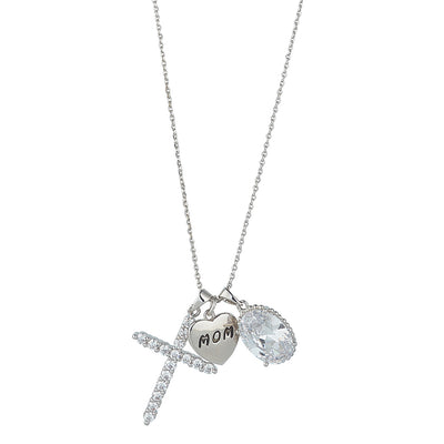 Rhodium Mom Charm Pendant