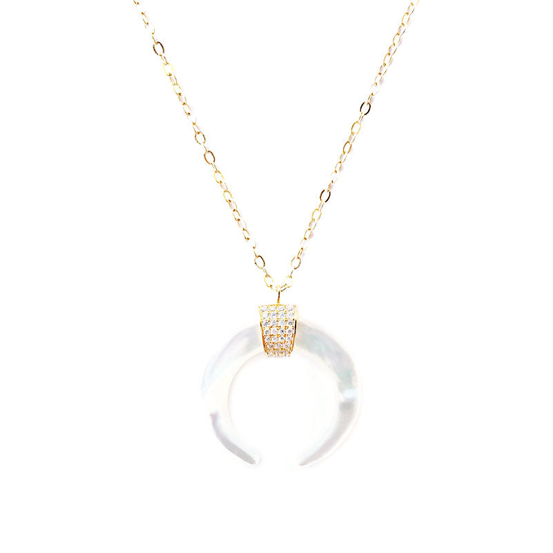 CELESTE DOUBLE HORN CRESCENT NECKLACE