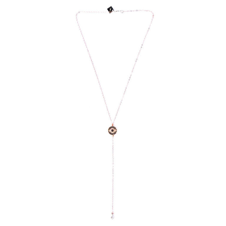 FEMI ROSE GOLD PAVÉ EVIL EYE LARIAT NECKLACE