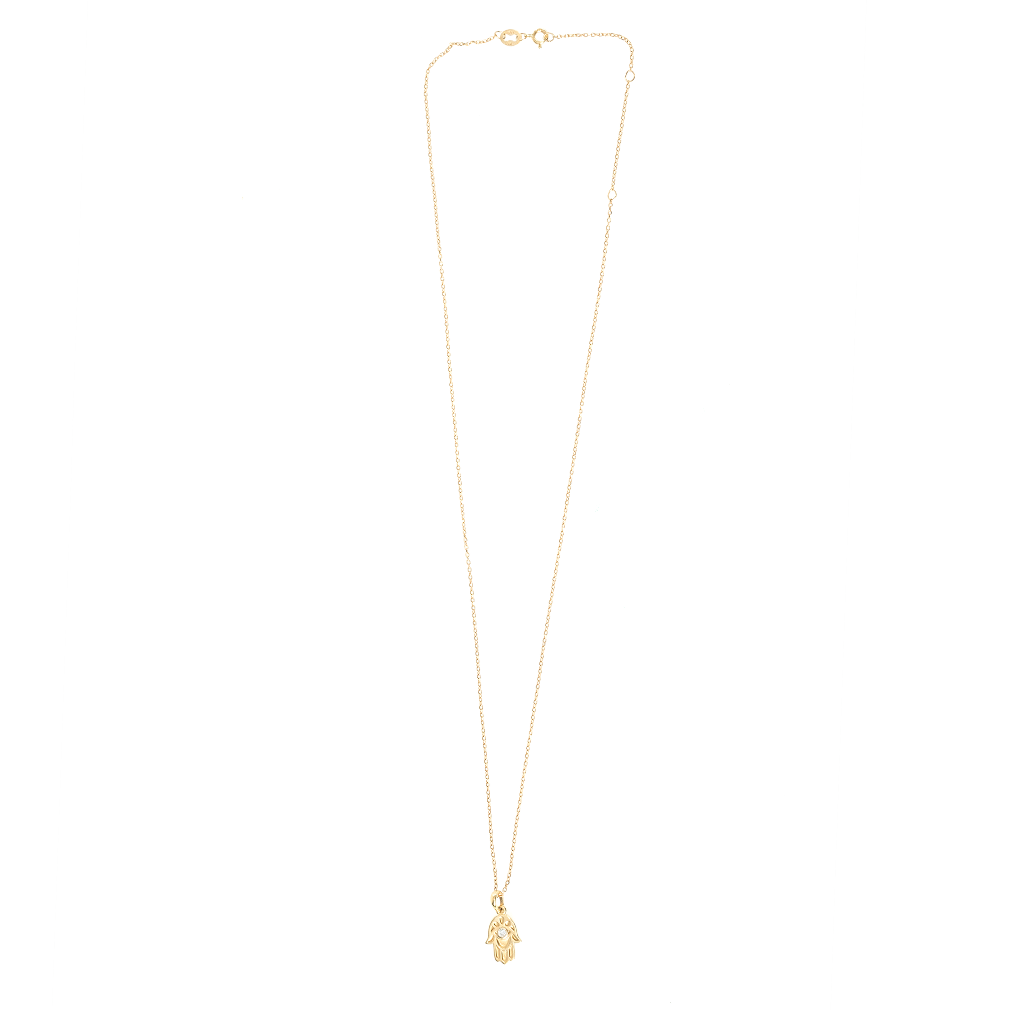 14K GOLD DIAMOND HAMSA NECKLACE