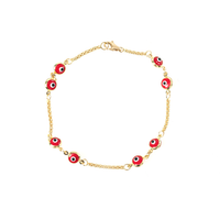 14K GOLD RED EVIL EYE BRACELET