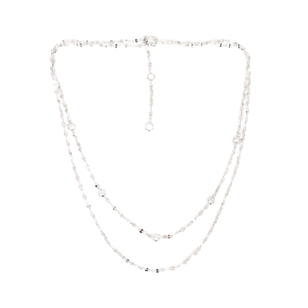AURORA CRYSTAL DOUBLE-CHAIN CHOKER NECKLACE