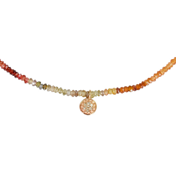 COLETTE PAVÉ DIAMOND + MULTI-COLOR SAPPHIRE NECKLACE