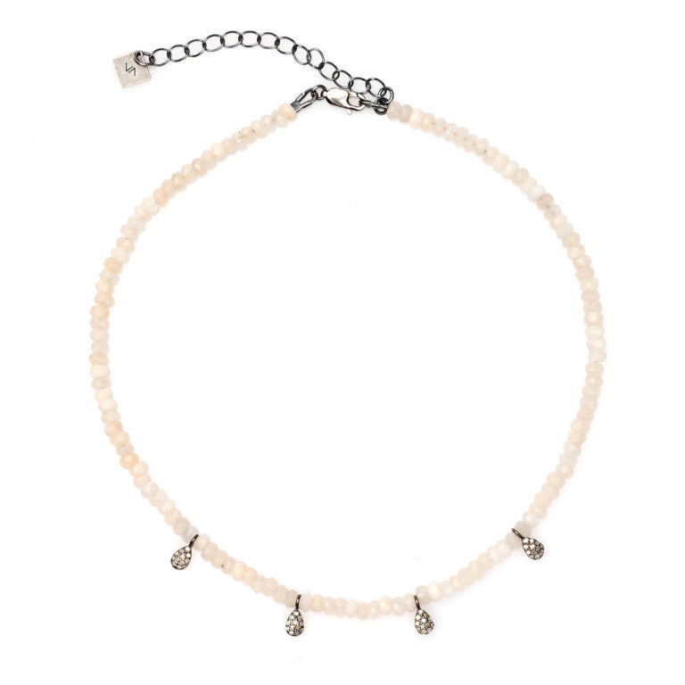 MAEVE DIAMOND PAVÉ TEARDROP CHOKER NECKLACE