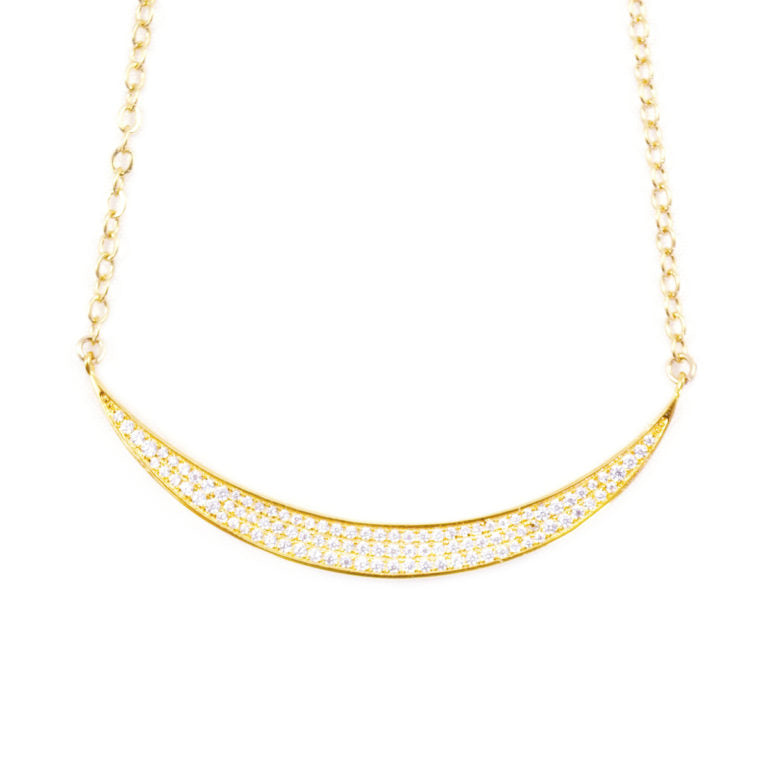 NOVA CRYSTAL PAVÉ CRESCENT NECKLACE