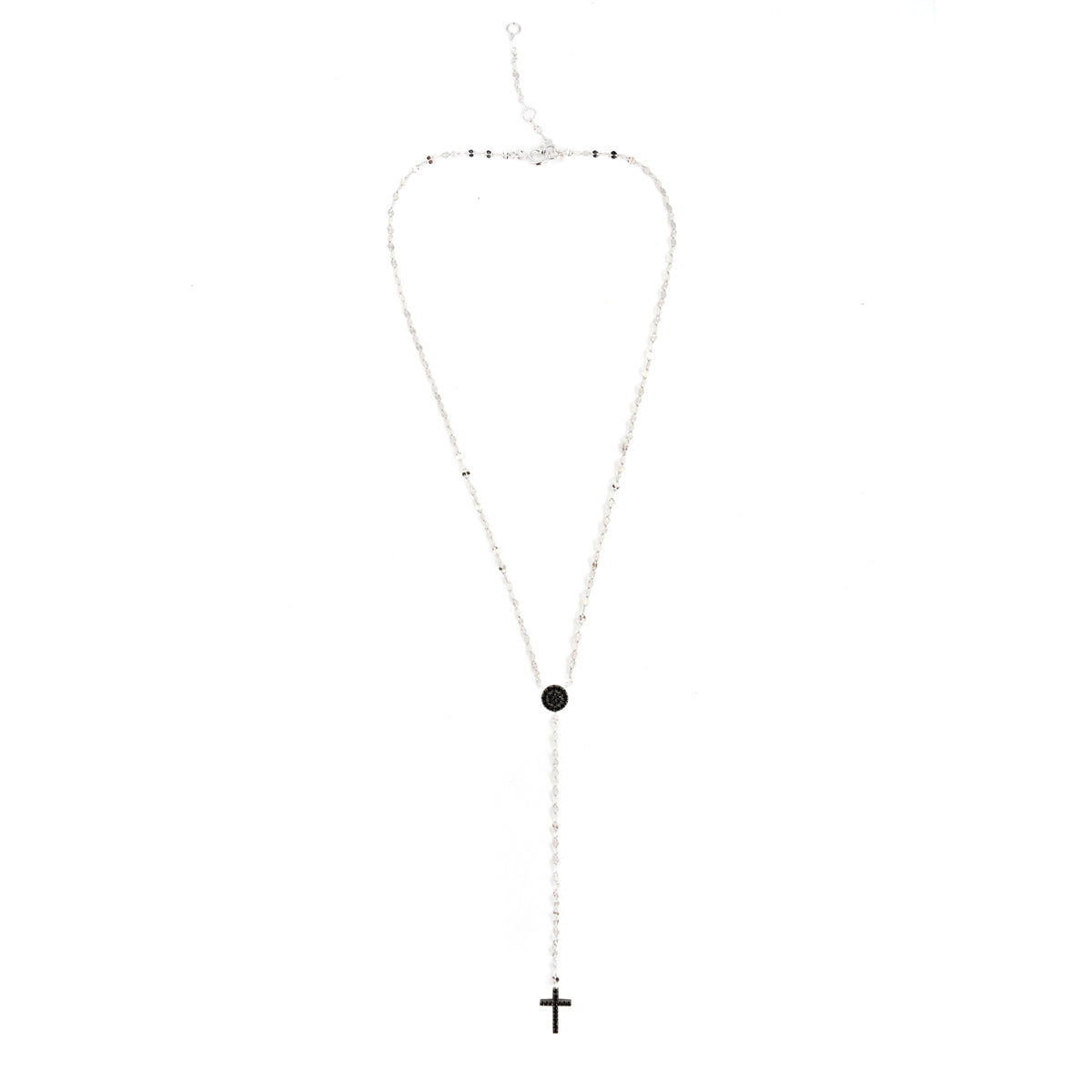 SPESSO PAVÉ DISC + CROSS LARIAT NECKLACE