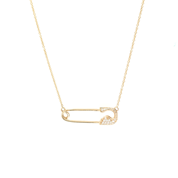 GOLD PAVÉ SAFETY PIN NECKLACE