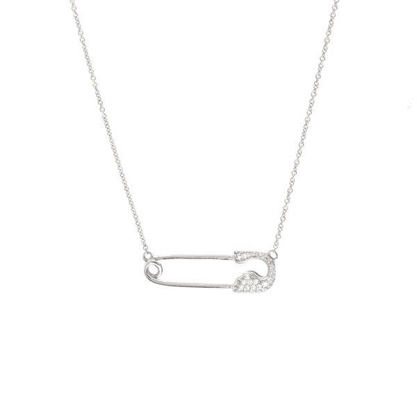 10K WHITE GOLD PAVÉ SAFETY PIN NECKLACE