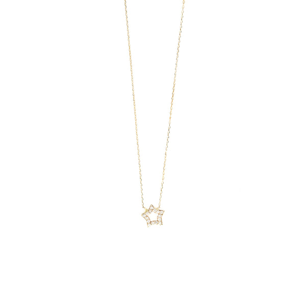 14k GOLD PAVÉ CRYSTAL BABY STAR NECKLACE