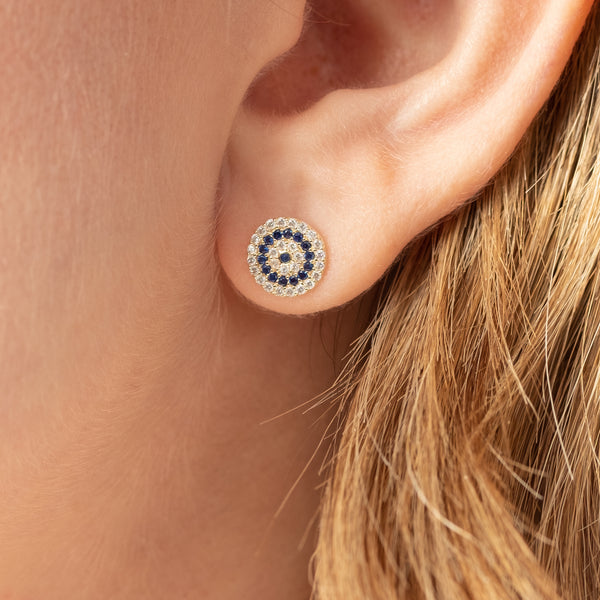 14K GOLD PAVÉ CRYSTAL EVIL EYE STUDS